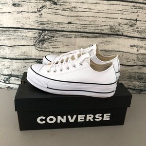 Converse Platform Leather White Shoes